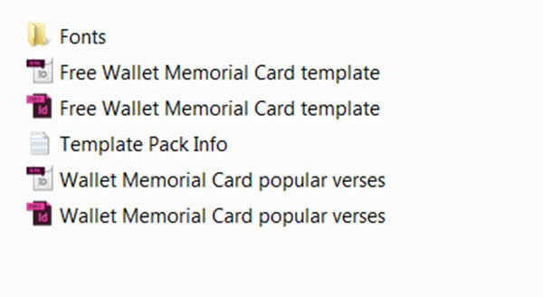 Free Wallet Memorial Card Template In InDesign Format Download
