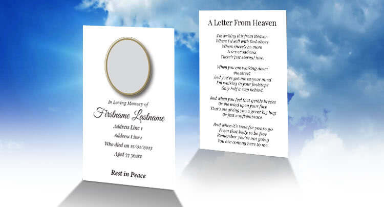 wallet memorial card design - Free Memorial Card Template