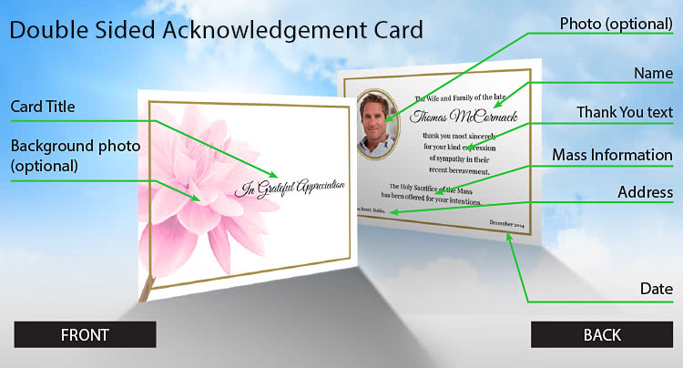 Standard acknowledgement card layout and wording