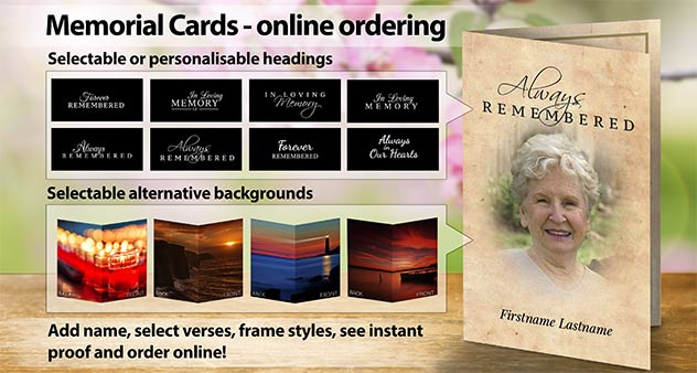 Memorial Cards online ordering system