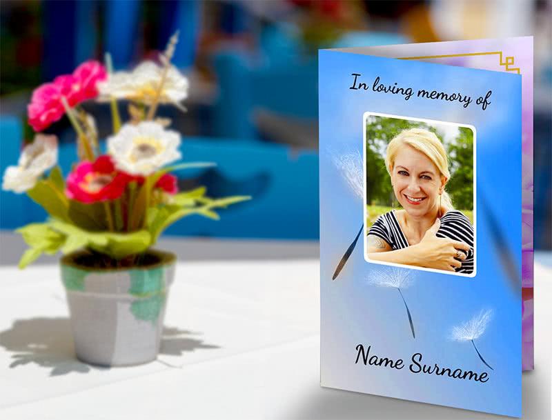 Blue Memorial Card