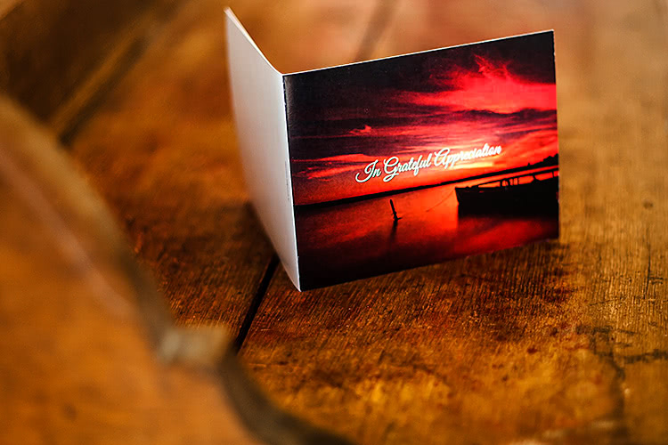 4-page scenic acknowledgement card, folded