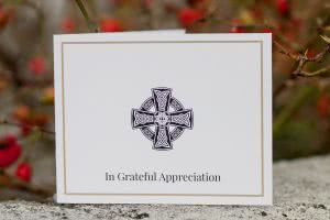 Acknowledgement card with Celtic cross.