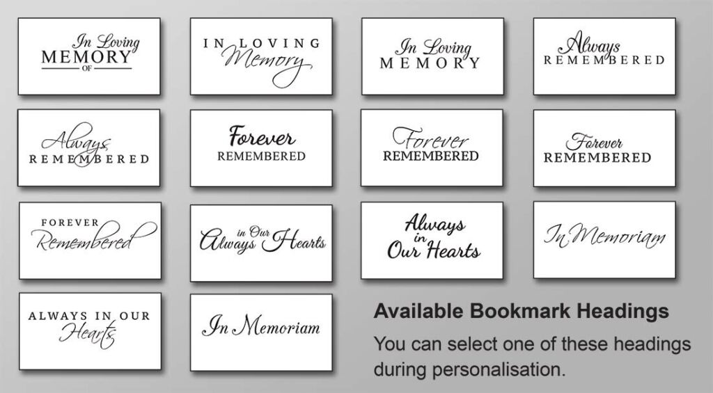 Available Bookmark Headings