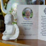 Inside of 4-page folding memorial card