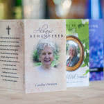 Three memorial cards - bright with bokeh