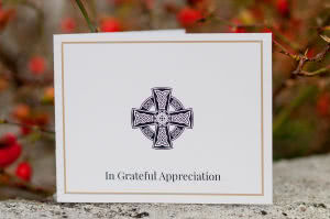 ACF16 - folding acknowledgement / funeral thanku card, front.