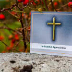 ACF-2 folding card with golden cross. Order Here