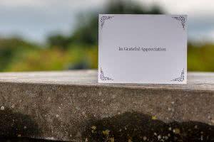 Plain white acknowledgement card