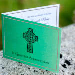 Green acknowledgement card with celtic cross