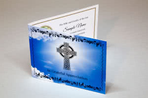 ACF11 - thankyou card with Celtic cross on the front