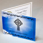 Funeral thank you card with Celtic cross