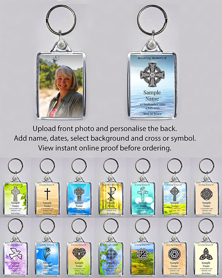 With our online personalisation system you can easily create a beautiful keyring. Upload a photo, add your dates, select background and cross (Irish/Celtic, plain etc) or symbol, view instant online proof and order in minutes.