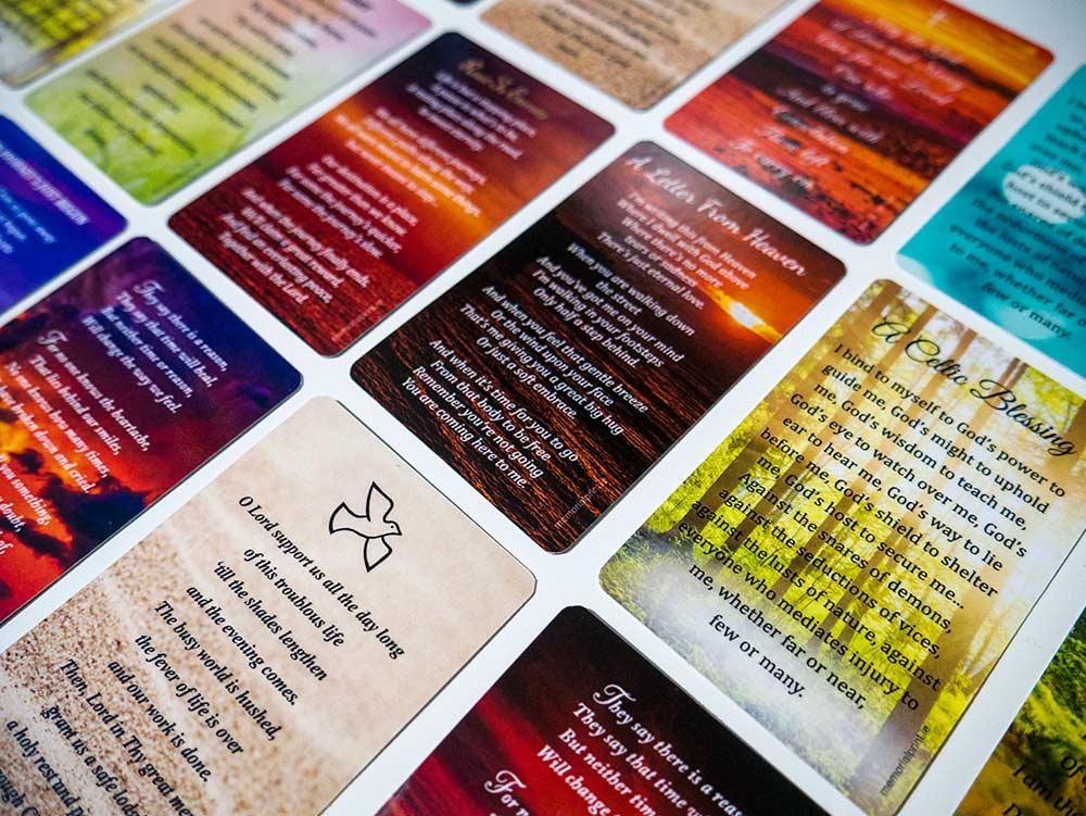 Wallet memorial card, example back designs.