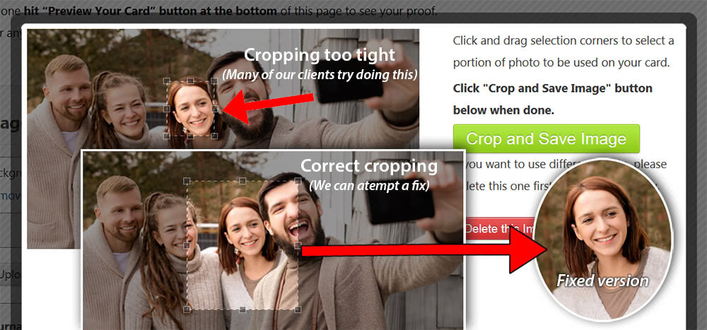Correct cropping that allows us to fix your photo.