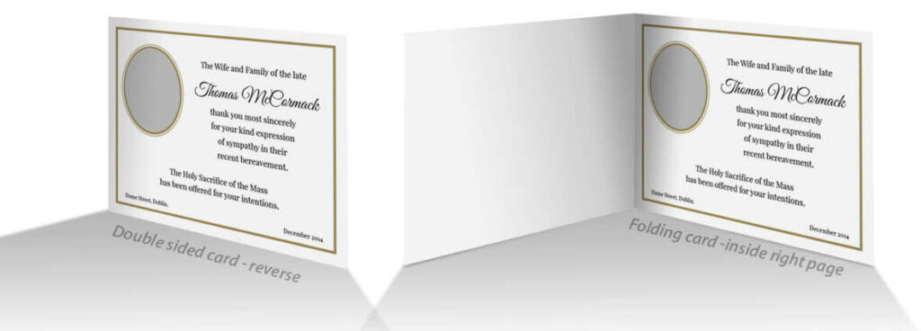Example layout and wording for the inside or reverse of  acknowledgement card.