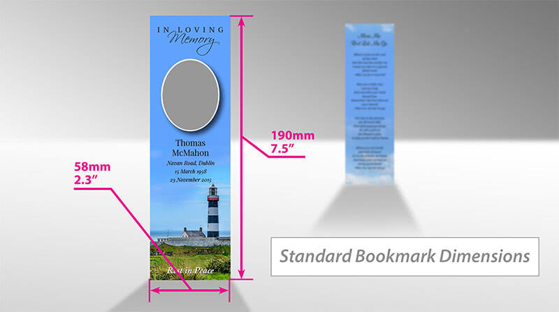 Standard dimensions of memorial bookmarks