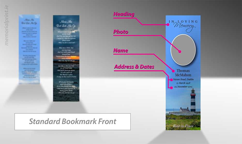 Memorial bookmark front, wording and layout