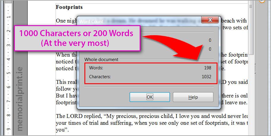 Maximum continuous text amount.