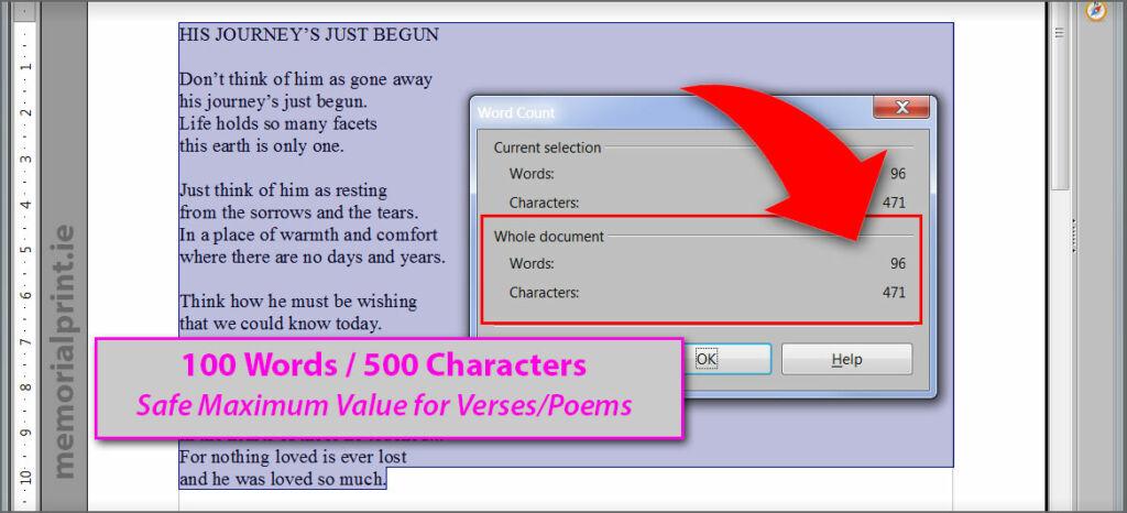 Verse / Poem max word count.