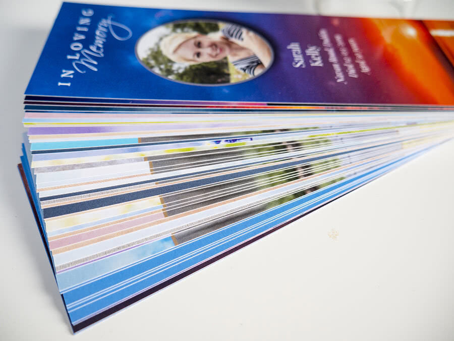 Stack of bookmarks showing choice of design