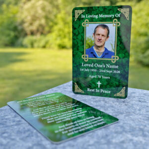 MPW09 wallet memorial card with celtic ornaments and photo frame