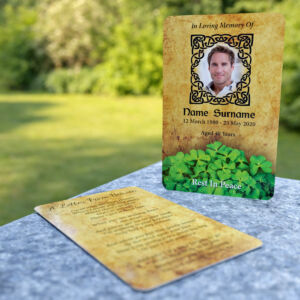 MPW-14 wallet card with shamrocks and Celtic style frame