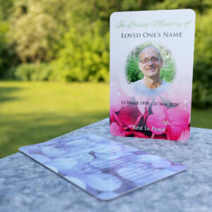MPW-19 wallet memorial card with faded flowers