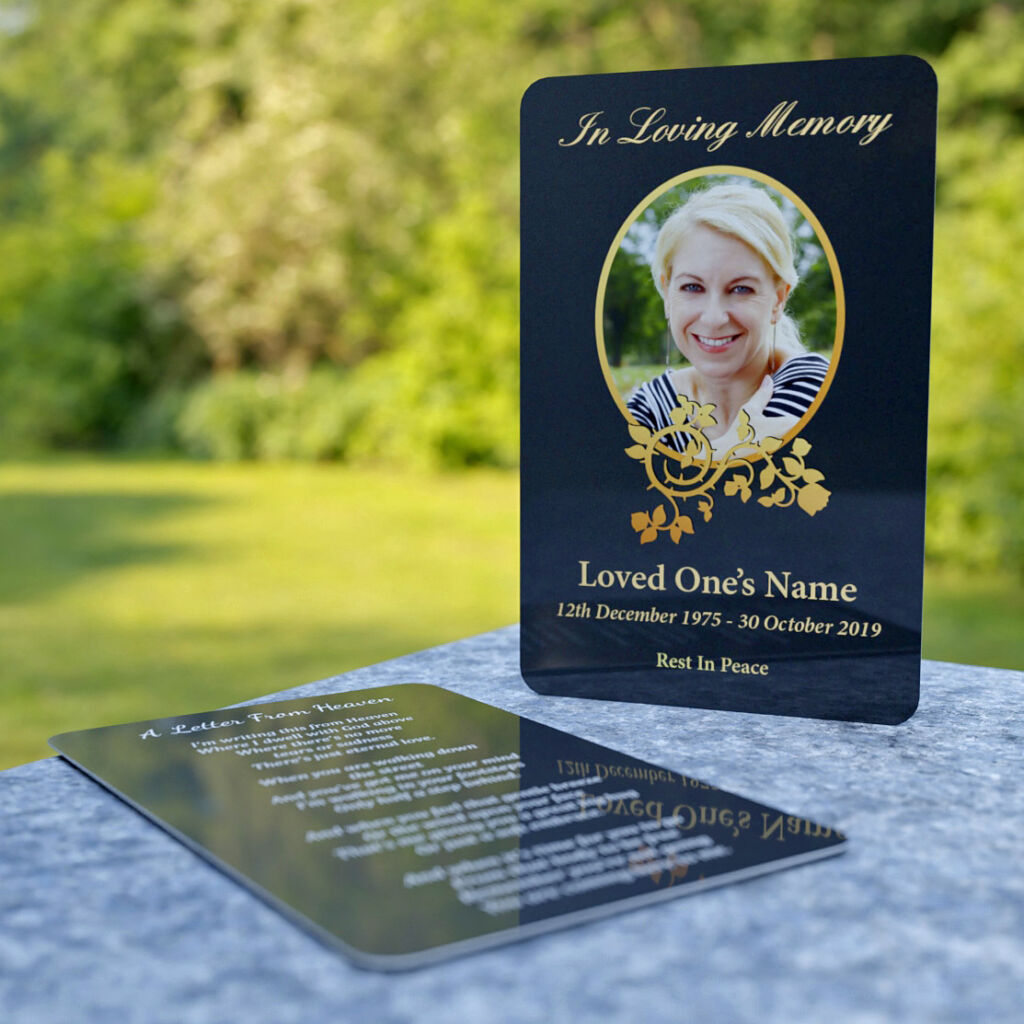 MPW-20 Wallet Memorial Card with dark background and decorative golden floral pattern