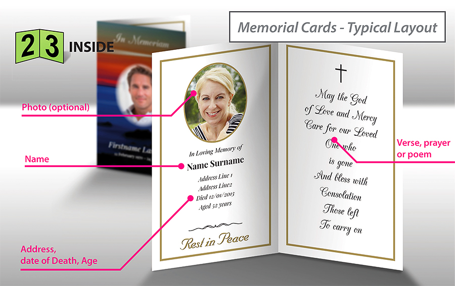Standard inside - pages 2 and 3 of a memorial card.