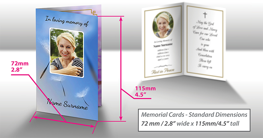 """Image visualises standard dimensions of folded memorial card - 72mm/2.8"""" wide by 115mm/4.5"""" tall."""