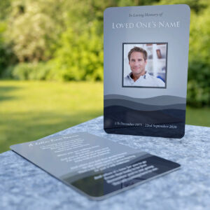MPW-22 Wallet Memorial Card with abstract waves or hills pattern