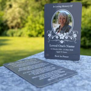MPW27 wallet memorial card floral frame dark gray background