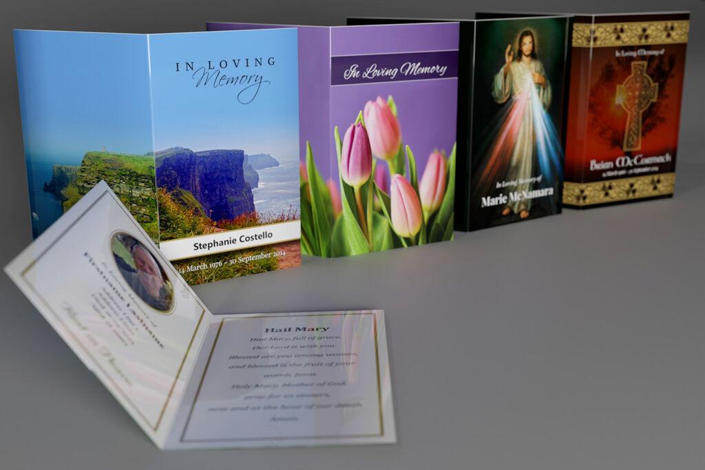 4 different memorial cards: Scenic, Floral, Religious and Irish/Celtic