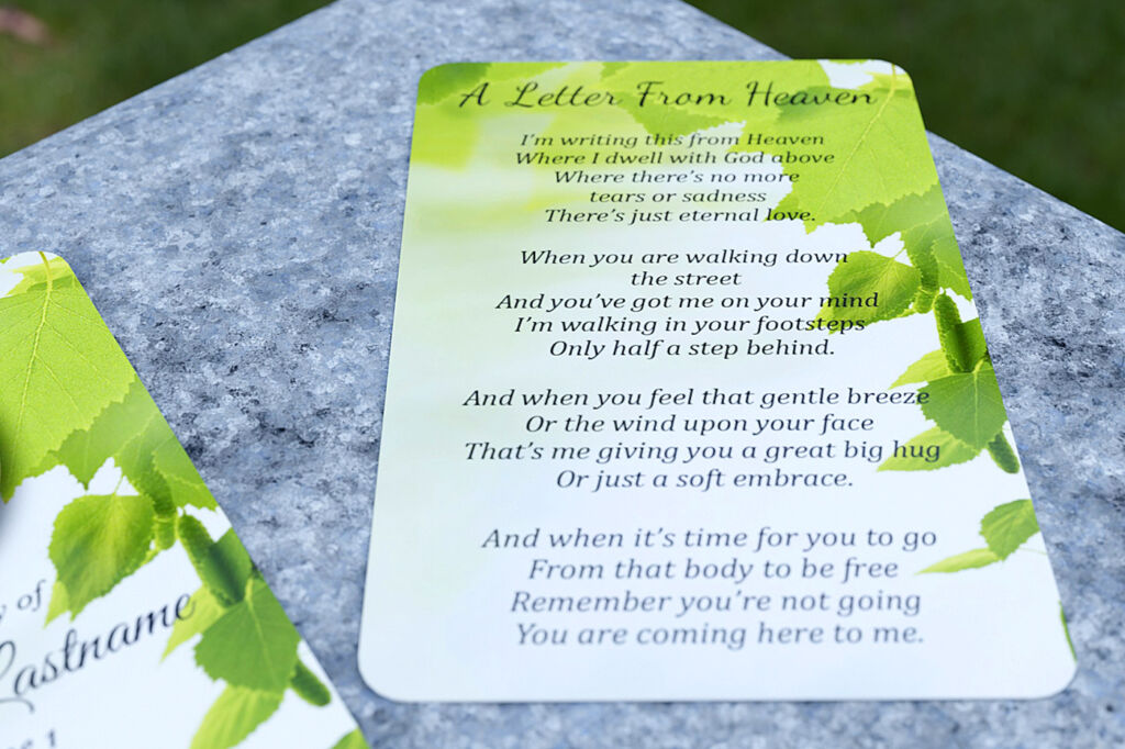 Example verse (A Letter from Heaven) for the  back of the card.