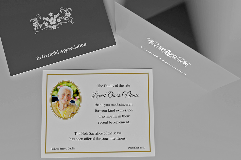 Acknowledgement card with decorative floral pattern on the front. A photo on the reverse along with a note expressing gratitude.